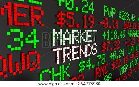 Market Trends Stocks Bonds Equities Securities Ticker Prices 3d Animation stock photo