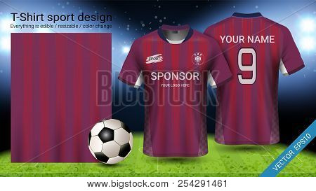 Soccer jersey and t-shirt sport mockup template, Graphic design for football kit or activewear uniforms, Ready for customize logo and name, Easily to change colors and lettering styles in your team. stock photo