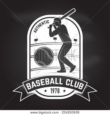 Baseball or softball club badge on the chalkboard. Vector illustration. Concept for shirt or logo, print, stamp or tee. Vintage typography design with baseball batter and ball for baseball silhouette. stock photo