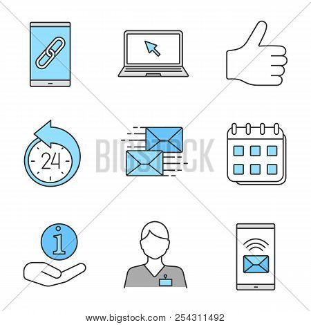Information center color icons set. Link, laptop, like, reschedule, mailing, calendar, helpdesk, hotline, incoming message. Isolated vector illustrations stock photo