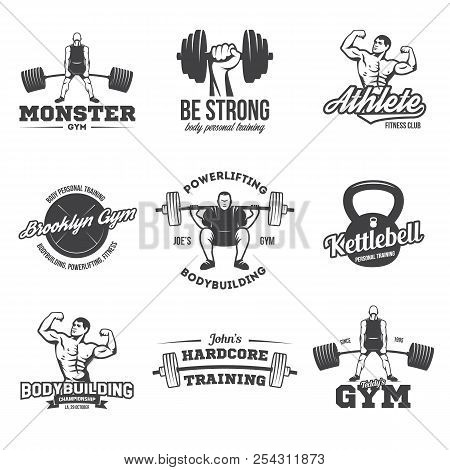 Bodybuilding, powerlifting, kettlebell, workout, fitness logo templates set. Gym club logotypes. Bodybuilde, Sportsman Fitness Model Illustration Sign Symbol badge. stock photo