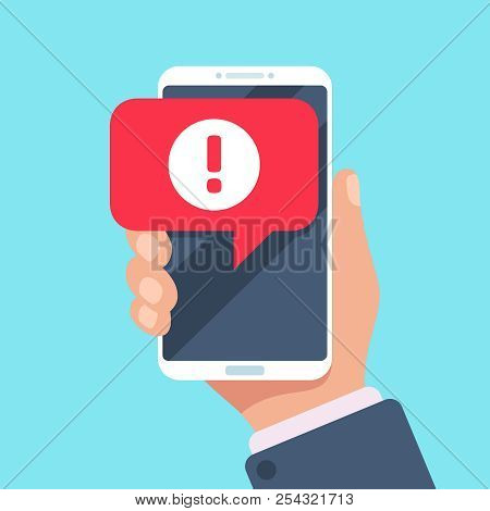 Alert message mobile notification. Danger error alerts, virus problem or spam notifications on phone screen vector illustration stock photo