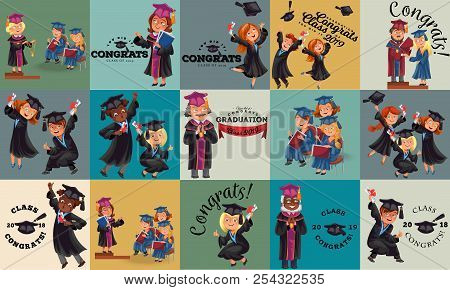 Congrats flat set. College composition consist of graduation class of 2019 students throwing caps girls and boys in gowns with diplomas graduates party vector illustration. stock photo