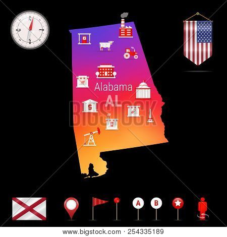 Alabama Vector Map, Night View. Compass Icon, Map Navigation Elements. Pennant Flag of the United States. Vector Flag of Alabama. Various Industries, Economic Geography Icons. stock photo