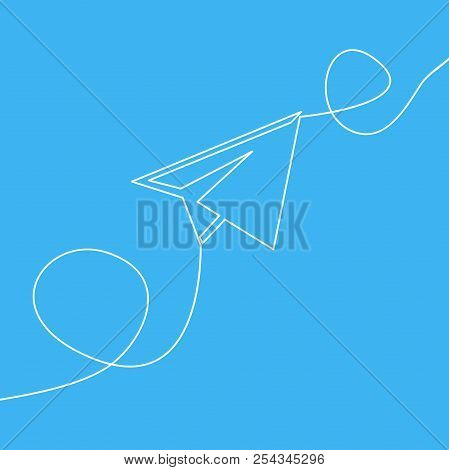 One line drawing flying paper airplane for finance and business concept vector illustration stock photo