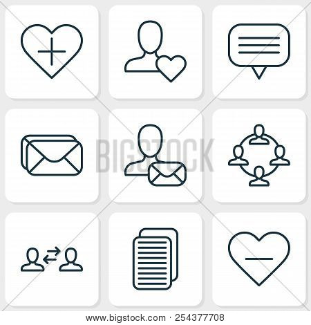 Social icons set with unread letter, communication, webpage and other favorite person elements. Isolated  illustration social icons. stock photo