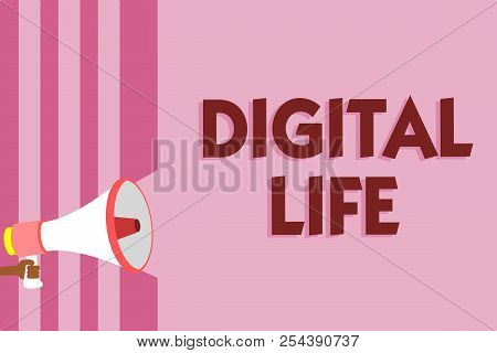 Word writing text Digital Life. Business concept for Living in a world interconnected through Internet Multimedia Megaphone loudspeaker pink stripes important message speaking out loud. stock photo