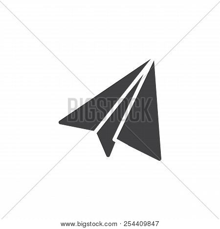 Send message vector icon. filled flat sign for mobile concept and web design. Paper plane simple solid icon. Symbol, logo illustration. Pixel perfect vector graphics stock photo