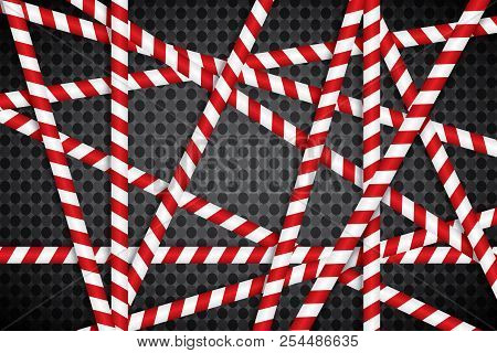 Red and white lines of barrier tape. The pole guard protects against the lack of input. Red and white barricade on a transparent background. Realistic red and white danger tape. stock photo