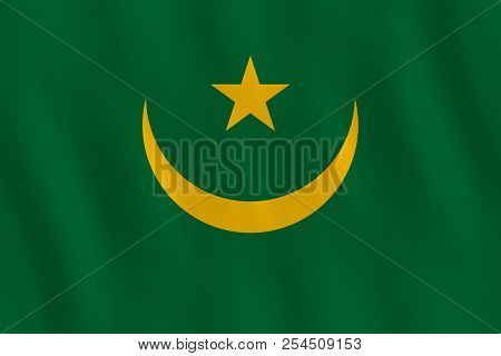 Mauritania flag with waving effect, official proportion. stock photo