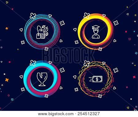 Set of Student, Fragile package and Mint bag icons. Money transfer sign. Graduation cap, Safe shipping, Mentha tea. Cash delivery.  Circle banners with line icons. Gradient colors shapes. Vector stock photo
