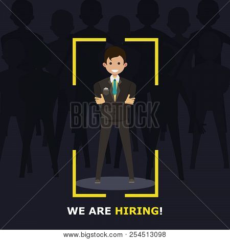 We are hiring recruitment sign. Man employer background flat. Job happy candidate vector grpahic. Concept isolated business resources career. Company template design art offer. Office interview banner stock photo