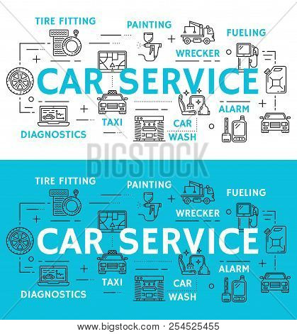 Car service icons for mechanics and repair station or diagnostics poster. Vector thin line instruments and automobile spare parts for car painting and tuning, fueling and wrecker service or car wash stock photo