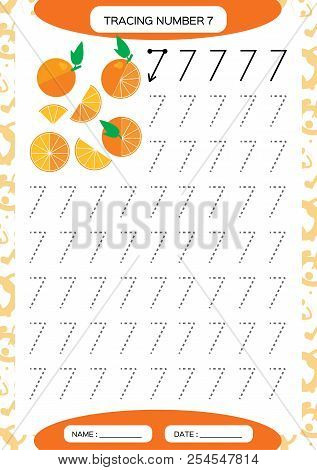 Number 7. Seven . Tracing Worksheet. Juicy orange. Preschool worksheet, practicing motor skills - tracing dashed lines. A4 orange. stock photo
