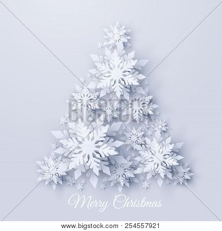 Vector Christmas And New Year Holidays Background With Christmas Tree Made Of Realistic Looking Pape