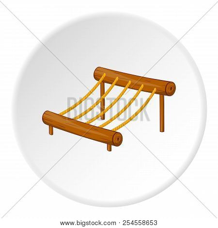 Childrens rope ladder icon in cartoon style isolated on white circle background. Entertainment for children symbol illustration stock photo