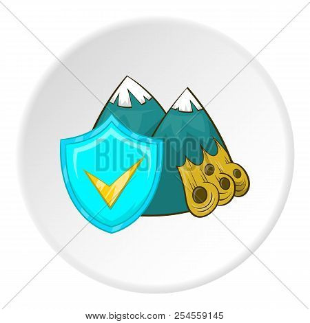 Avalanche in mountains and sign safety icon in cartoon style isolated on white circle background. Accident prevention symbol illustration stock photo