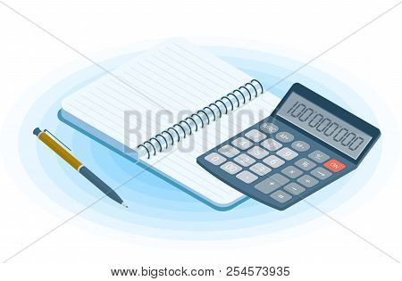 Flat vector isometric illustration of opened copybook, pen, electronic calculator. Office and business workplace concept: paper notepad and accounting calculator. School, education workspace supplies. stock photo