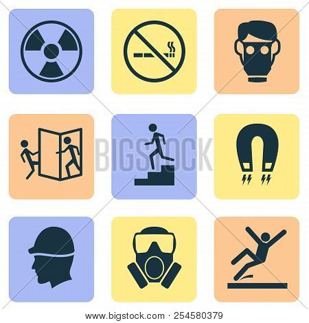 Safety icons set with toxic gas, beware of opening door, hat and other electromagnetic elements. Isolated  illustration safety icons. stock photo