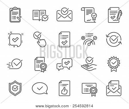 Approve Line Icons. Set Of Check List, Certificate And Award Medal Linear Icons. Certified Document,
