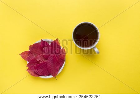 Autumn red leaves and a Cup of coffee on a bright yellow background. Abstract concept of autumn stock photo