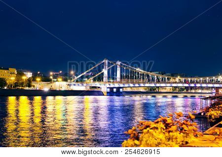 The bridge over the Moskva river. Moscow night view. stock photo
