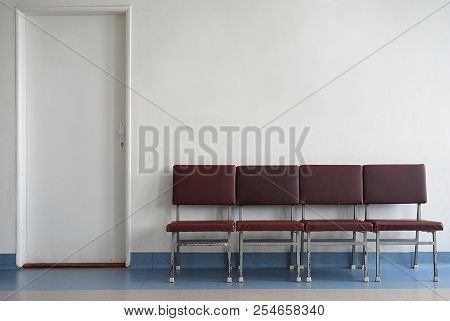 waiting room and white wall for your text stock photo