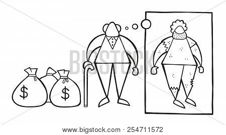 Vector illustration cartoon rich old man with dollar money sacks but dreaming or thinking about his poverty or homeless when he was young. stock photo