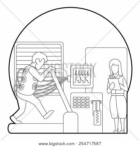 Medical testing person on treadmill concept. Outline illustration of medical testing person on treadmill concept for web stock photo