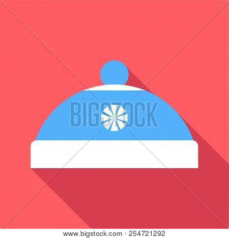 Blue hat with pompom icon. Flat illustration of blue hat with pompom icon for web stock photo