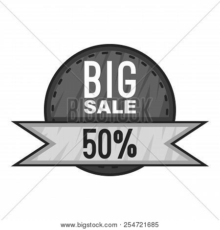 Label big sale fifty percent icon. Gray monochrome illustration of label big sale fifty percent icon for web stock photo
