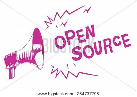 Word writing text Open Source. Business concept for denoting software which original source code freely available Purple megaphone loudspeaker important message screaming speaking loud. stock photo