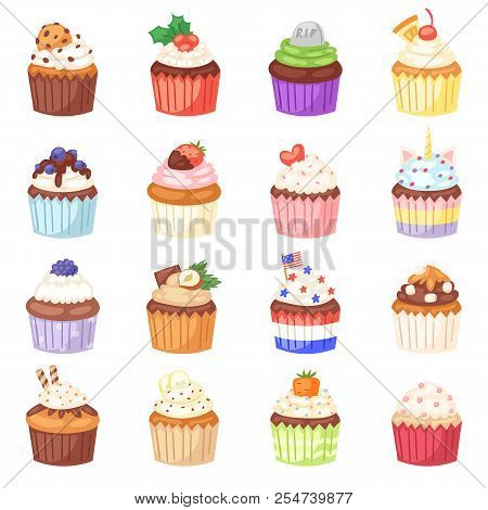 Cupcake vector muffin and sweet cake dessert with berries or caked candies illustration set of confectionery with cream and sweets in bakery for birthday party isolated on white background stock photo