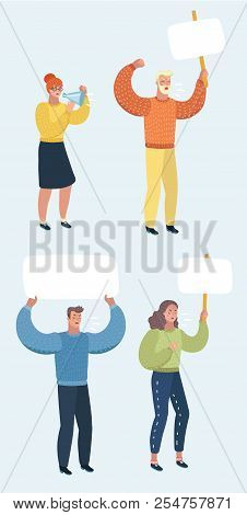 Set of vector cartoon illustration of Peaceful demonstrators on white background with billboards. stock photo