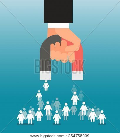 Lead generation. Magnet in hand attracts consumers. Sales and leads, marketing vector concept. Magnet attract client and customer, marketing development illustration stock photo