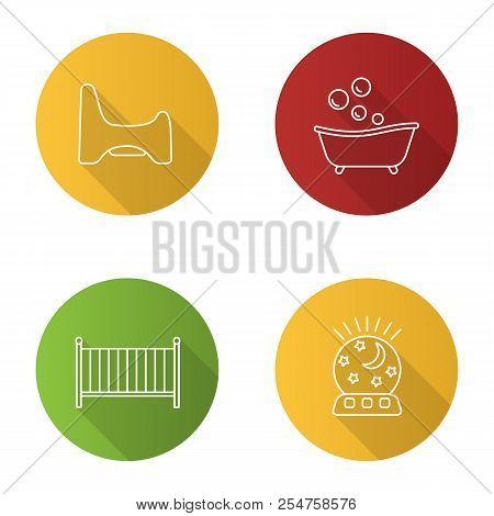 Childcare flat linear long shadow icons set. Potty chair, bathtub, crib, night light. Vector outline illustration stock photo