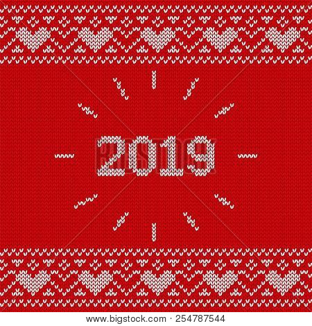 2019 Christmas knitting background. Knit seamless pattern. Vector Xmas and New year red design. Knitted winter texture. Holyday sweater ornaments. stock photo