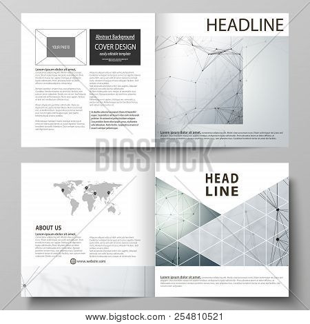 Business templates for square design bi fold brochure, flyer. Leaflet cover, vector layout. Genetic and chemical compounds. Atom, DNA and neurons. Chemistry, science concept. Geometric background. stock photo
