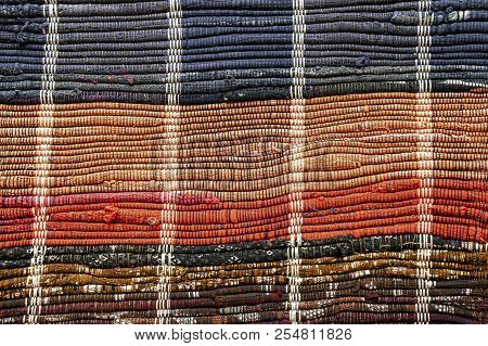 Close up of floor rug made out of recycled rags.  Handmade crafts. Rag mats. stock photo