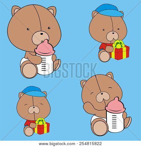 cute baby teddy bear cartoon sittin set in vector format very easy to edit stock photo