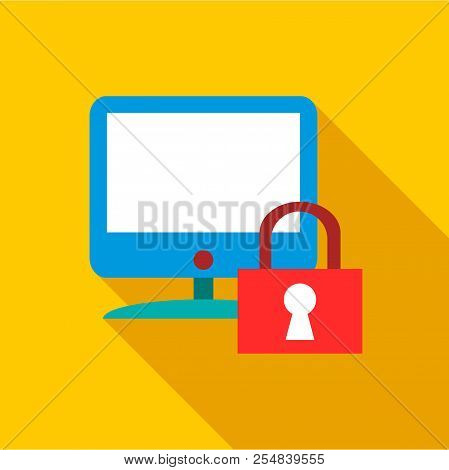 Blocked monitor icon. Flat illustration of blocked monitor icon for web stock photo