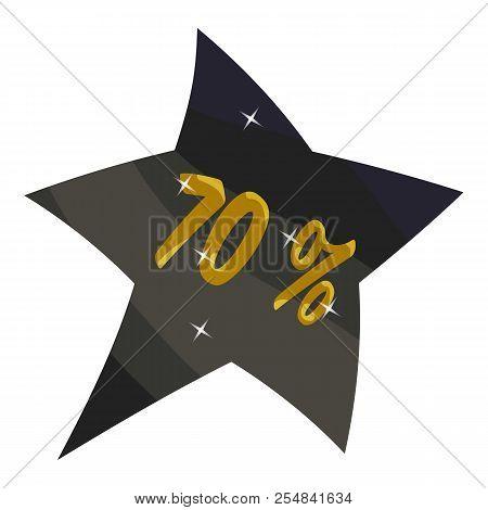 Tag star seventy percent discount icon. Cartoon illustration of tag star seventy percent discount icon for web stock photo