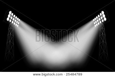 Stadium masts with projectors stock photo