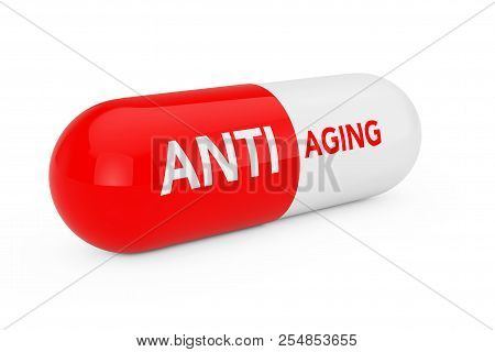 Capsule Pill with Anti Aging Sigh on a white background. 3d Rendering stock photo