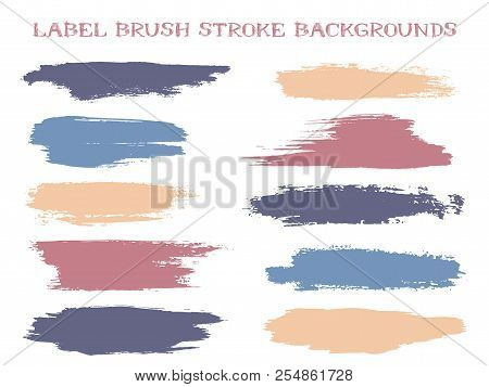 Minimal label brush stroke backgrounds, paint or ink smudges vector for tags and stamps design. Painted label backgrounds patch. Interior paint color palette swatches. Ink smudges, purple blue stains. stock photo