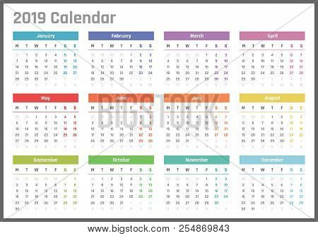 Calendar For 2019 Starts Monday, Vector Calendar Design 2019 Year