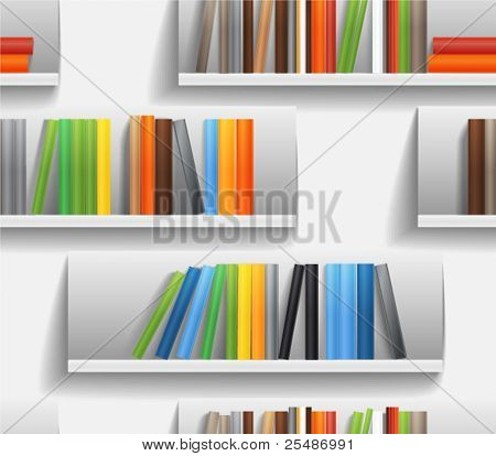Seamless background of library shelves with color books stock photo