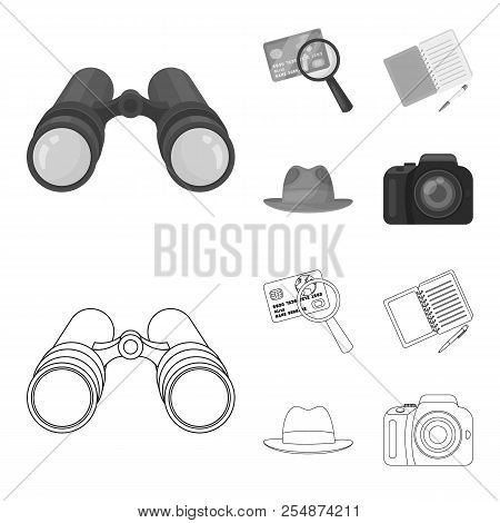 Camera, magnifier, hat, notebook with pen.Detective set collection icons in outline, monochrome style vector symbol stock illustration web. stock photo