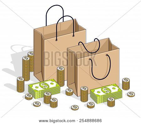 Sellout concept, Retail, Big Sale, Shopping Bag with cash money stacks and coin piles isolated on white background. Isometric vector business and finance illustration, 3d thin line design. stock photo