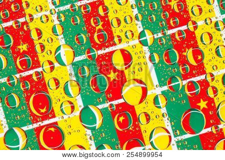 Flags  of Cameroon, behind a glass covered with rain drops.Pattern from flags of Cameroon. 3D illustration stock photo
